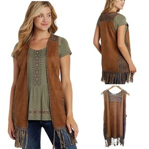 MAURICES FAUX SUEDE AND KNIT FRINGE VEST